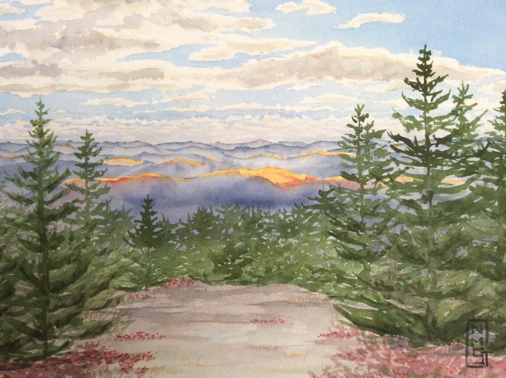 North Pack Monadnock Sun Spots - Watercolor painting by NMSG - Spruce and granite mountain top