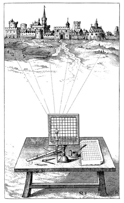 Sighting Grid by Robert Fludd 1617 from Pablo Garcia's website DrawingMachines.org