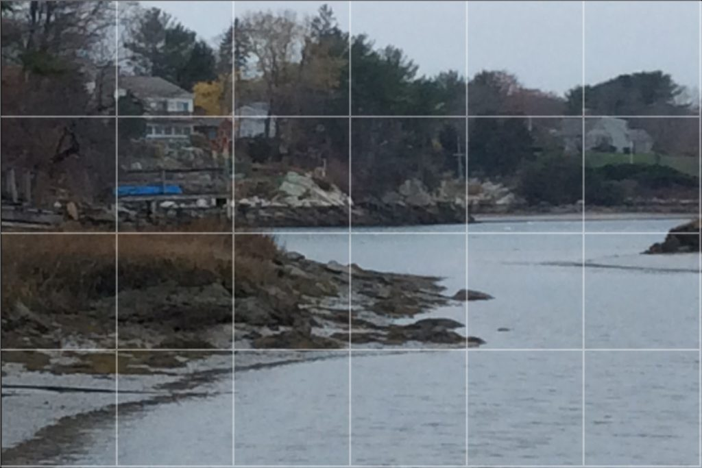 Using ArtistsGridToolHD app on an iPad to grid a scene in order to draw it.