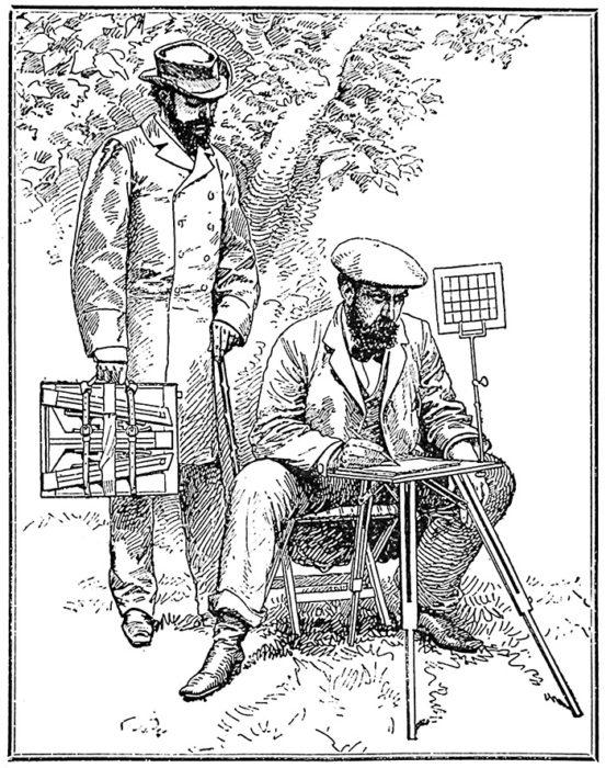 Table de L'Aquarelliste Sighting Grid, dE. Picart,1887, a drawing of a drawing aid for watercolor painters