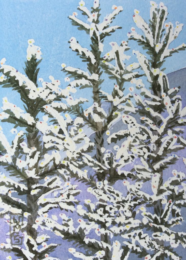 Snow Rainbows on Spruce Trees - NMSG Watercolor Painting