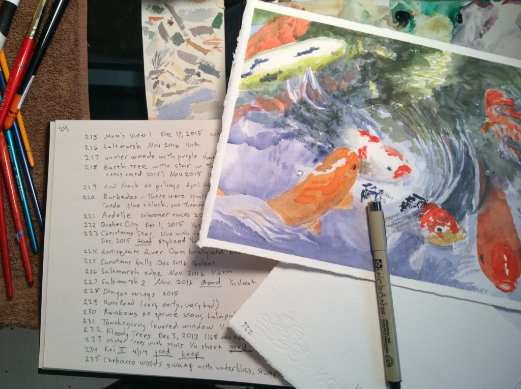 An easy system for numbering watercolor paintings