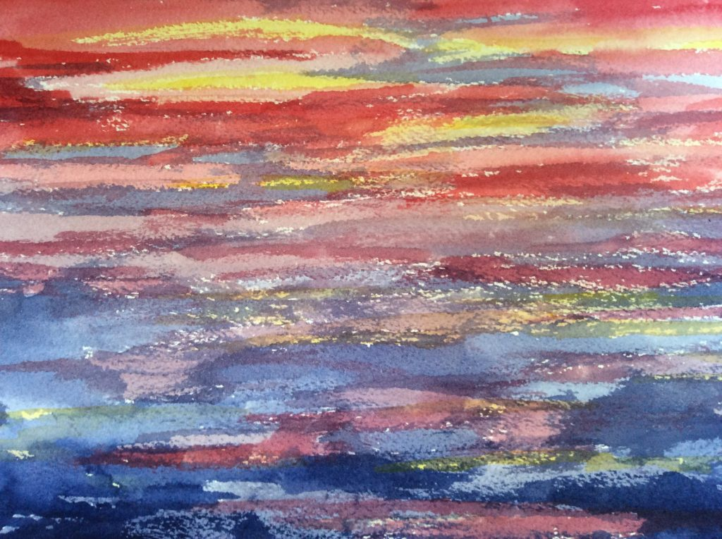 Sunset in Water - Watercolor painting by NMSG, Bright pink and orange sunset reflected in water.