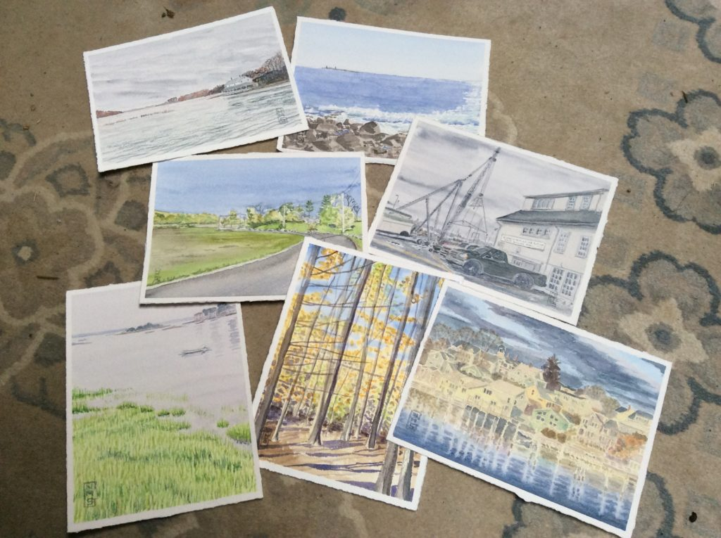 Seven small watercolor landscapes of Gloucester and Essex on Cape Ann Massachusetts