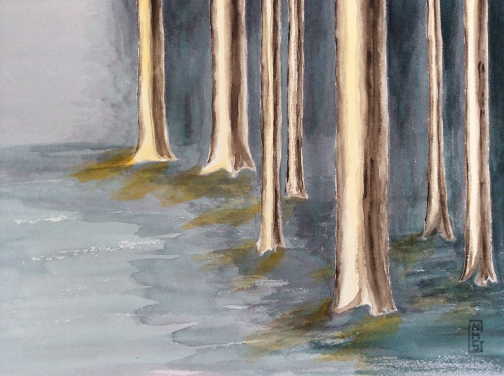 Floody Trees - Watercolor painting by NMSG, mysterious forest