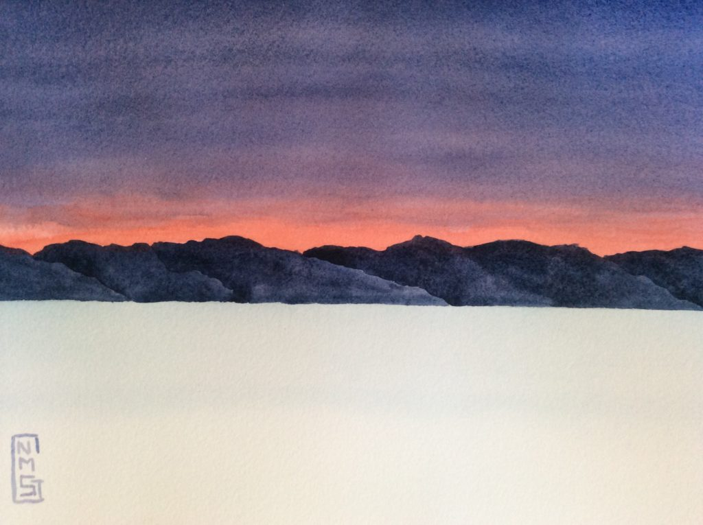 Winter Sunset - Watercolor painting by NMSG, pink glow of sunset behind hills across an icy lake