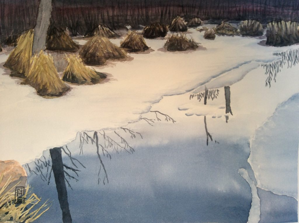 Winter Light in Chebacco Woods Swamp - Watercolor painting by NMSG, half frozen brook through a swamp