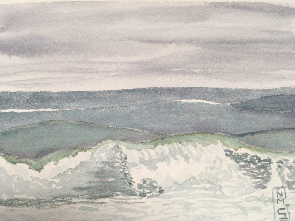 Rough Waters 1 watercolor painting NMSG breakers off the back shore of Gloucester Cape Ann